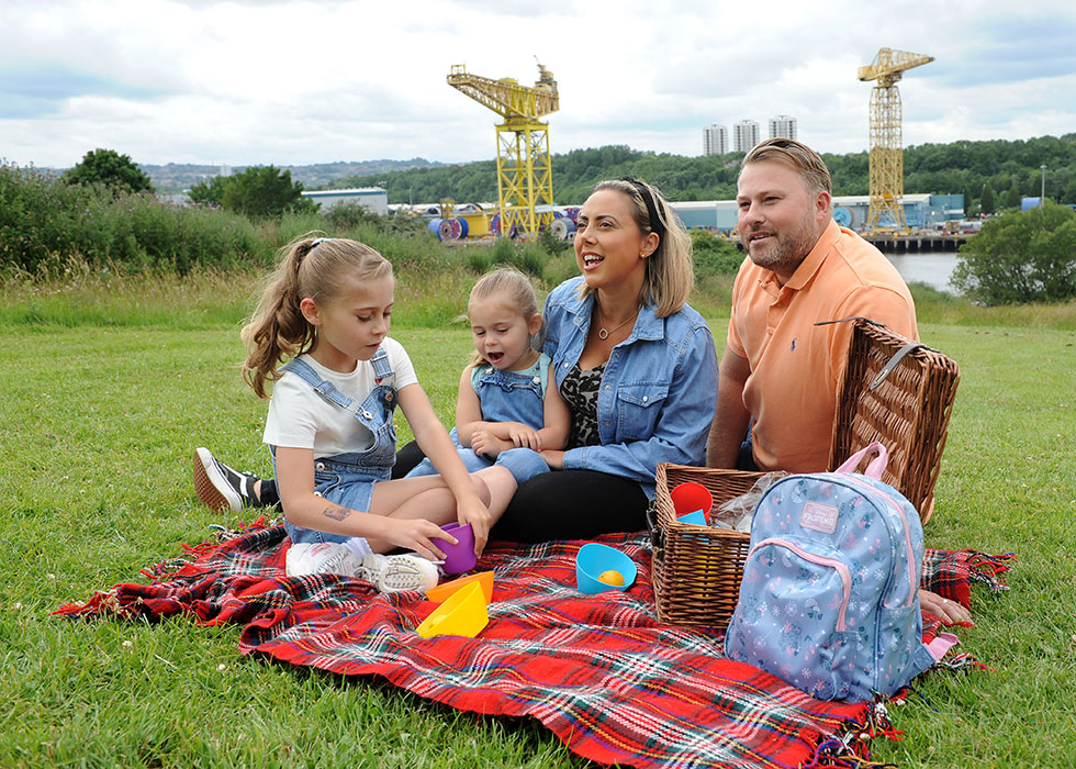 Family picnic at Hebburn Riverside